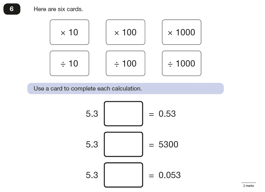 Question 06 Maths KS2 SATs Papers 2016 - Year 6 Practice Paper 3 Reasoning,Numbers, Decimal Manipulation, Decimals