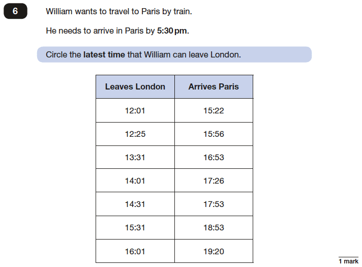 Question 06 Maths KS2 SATs Papers 2017 - Year 6 Sample Paper 3 Reasoning, Time, Train and Bus Timetables