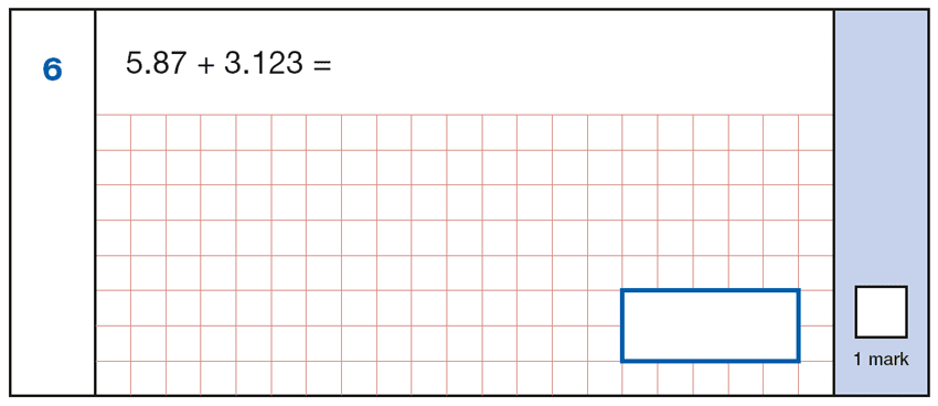 Question 06 Maths KS2 SATs Papers 2019 - Year 6 Sample Paper 1 Arithmetic, Numbers, Decimals, Addition