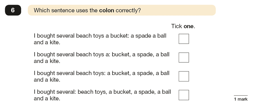 Question 06 SPaG KS2 SATs Papers 2016 - Year 6 English Past Paper 1, Punctuation