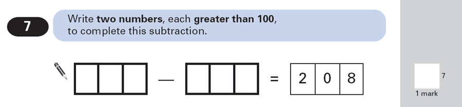 Question 07 Maths KS2 SATs Papers 2000 - Year 6 Sample Paper 2, Numbers, Subtraction