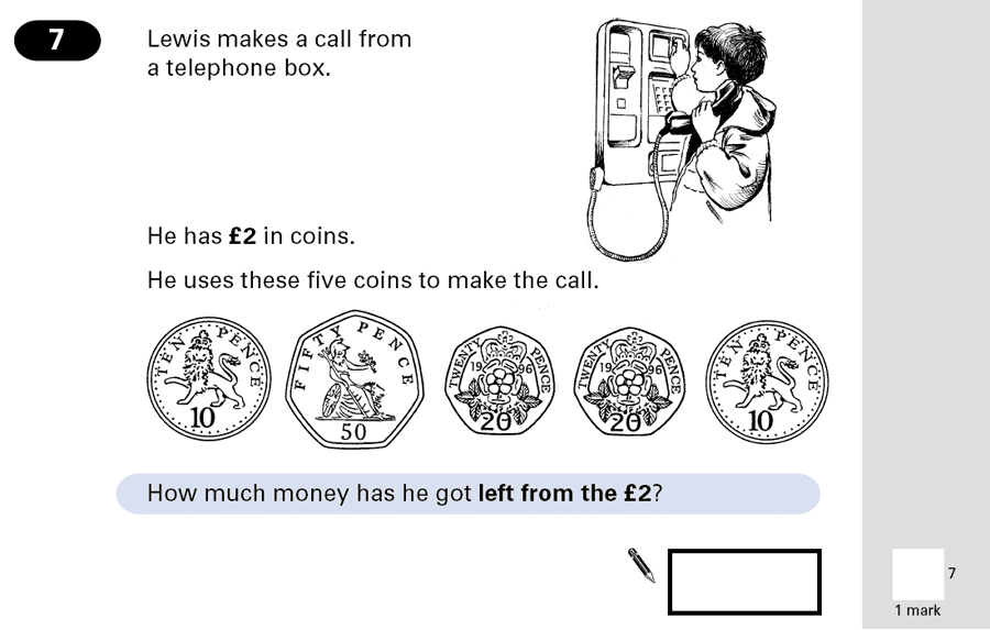 Question 07 Maths KS2 SATs Papers 2001 - Year 6 Sample Paper 1, Numbers, Addition, Subtraction, Measurement, Currency Conversions, Money