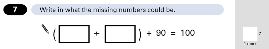 Question 07 Maths KS2 SATs Papers 2001 - Year 6 Sample Paper 2, Algebra, BIDMAS
