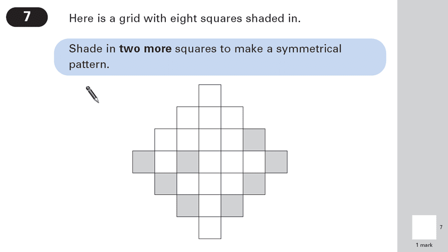 Question 07 Maths KS2 SATs Papers 2003 - Year 6 Sample Paper 1, Geometry, 2D shapes, Lines of Symmetry