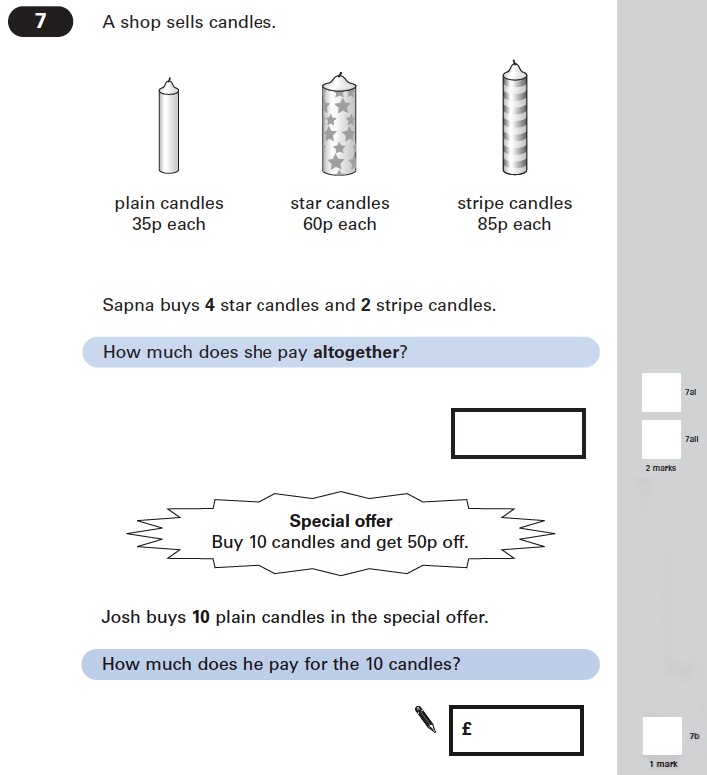 Question 07 Maths KS2 SATs Papers 2005 - Year 6 Sample Paper 1, Numbers, Addition, Multiplication, Word Problems, Money