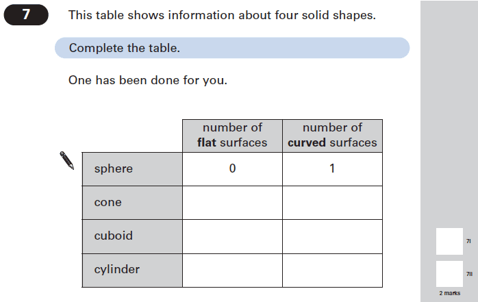 Question 07 Maths KS2 SATs Papers 2005 - Year 6 Sample Paper 2, Geometry, 3D shapes