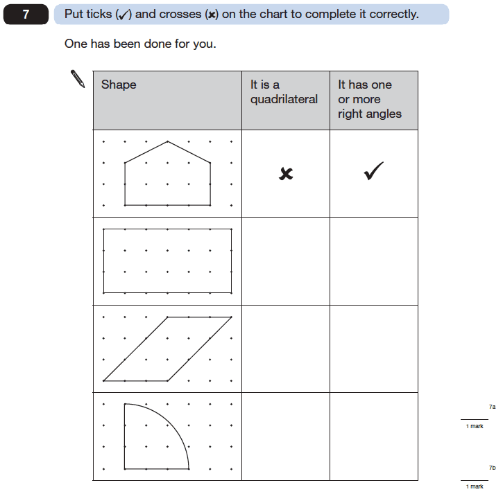 Question 07 Maths KS2 SATs Papers 2006 - Year 6 Sample Paper 2, Geometry, 2D shapes