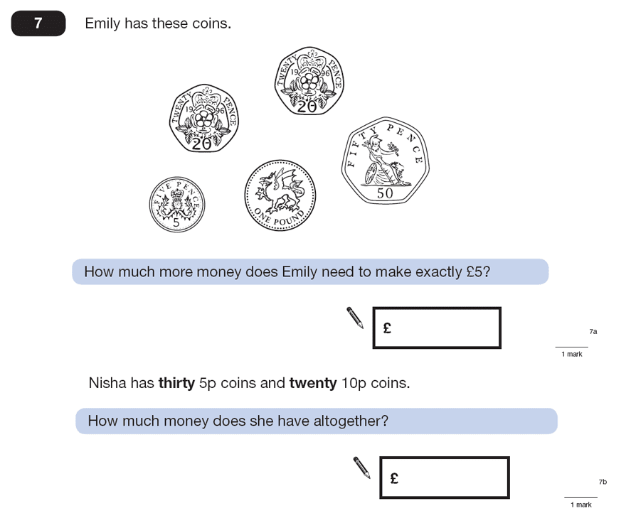 Question 07 Maths KS2 SATs Papers 2008 - Year 6 Practice Paper 2, Numbers, Addition, Multiplication, Subtraction, Word Problems, Measurement, Currency Conversions, Money