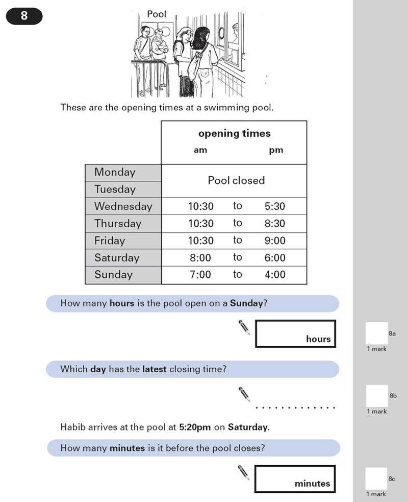 Question 08 Maths KS2 SATs Papers 2000 - Year 6 Practice Paper 2, Numbers, Word Problems, Time