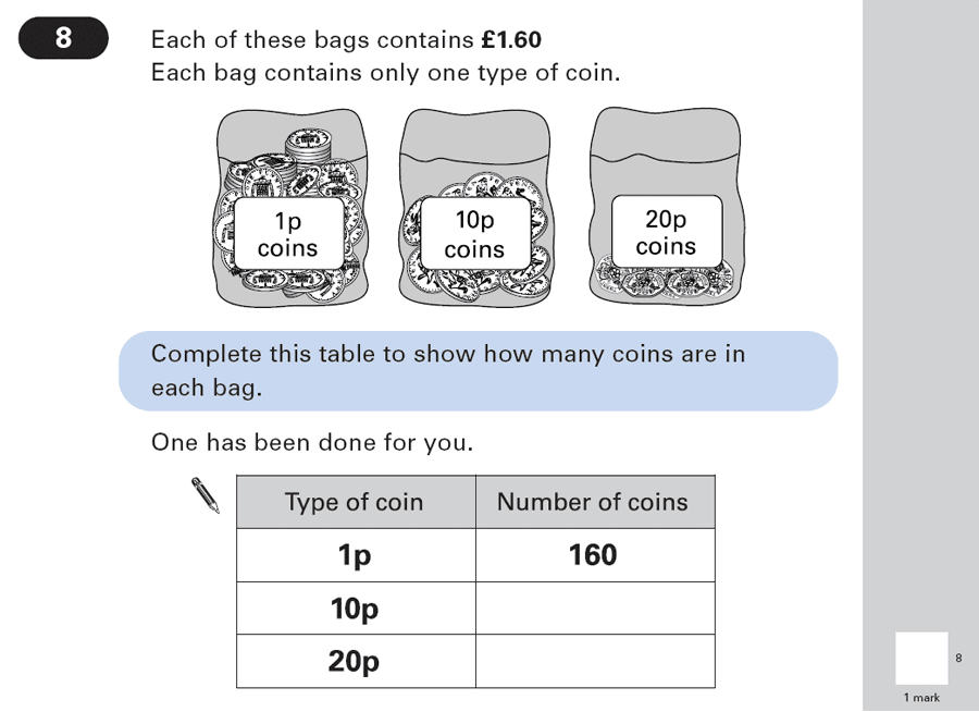 Question 08 Maths KS2 SATs Papers 2003 - Year 6 Practice Paper 1, Numbers, Division, Measurement, Currency Conversions, Money