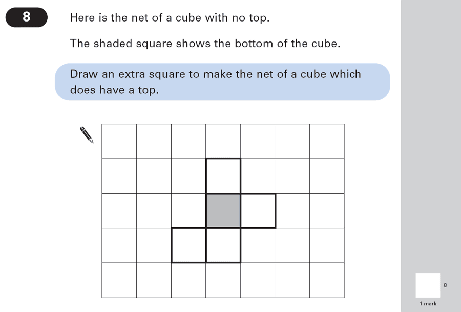 Question 08 Maths KS2 SATs Papers 2003 - Year 6 Practice Paper 2, Geometry, Cubes and Cuboids, Nets of Solids