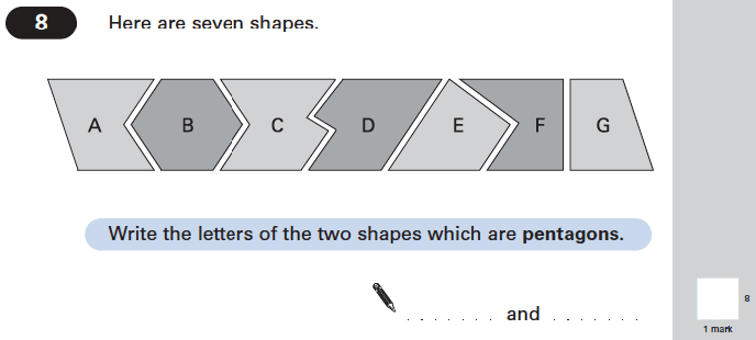 Question 08 Maths KS2 SATs Papers 2004 - Year 6 Sample Paper 2, Geometry, 2D shapes, Polygons