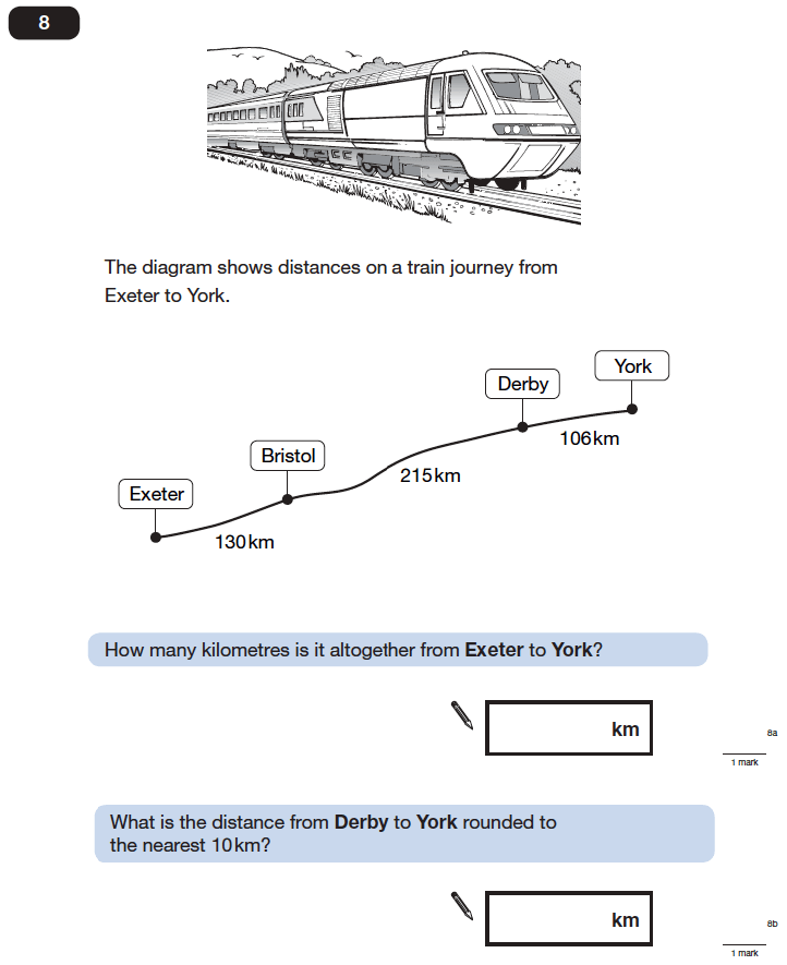 Question 08 Maths KS2 SATs Papers 2006 - Year 6 Exam Paper 1, Numbers, Rounding, Addition, Word Problems