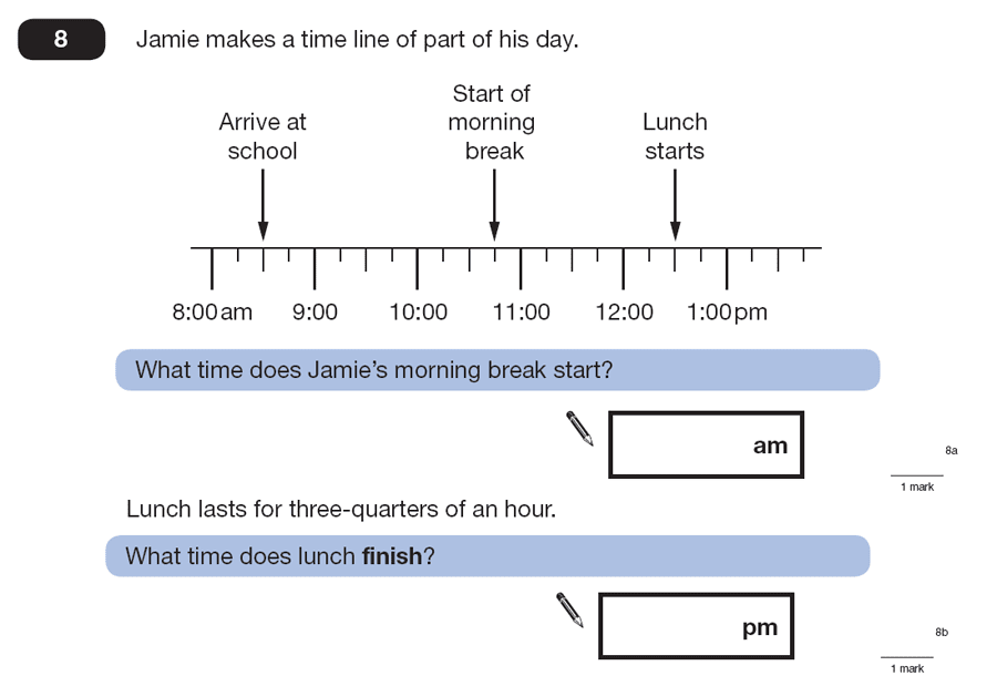 Question 08 Maths KS2 SATs Papers 2007 - Year 6 Exam Paper 1, Measurement, Scale reading, Time