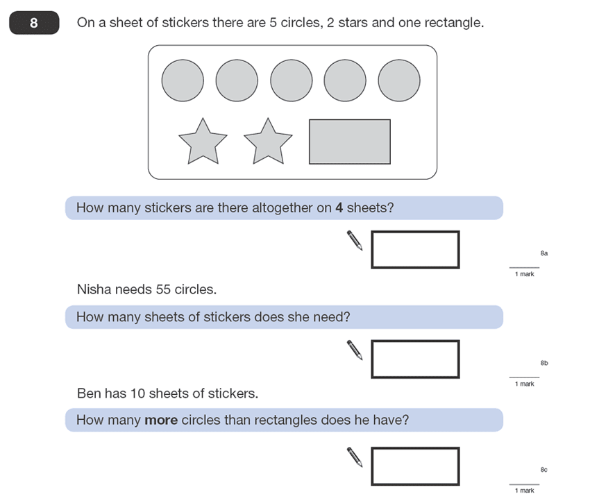 Question 08 Maths KS2 SATs Papers 2008 - Year 6 Exam Paper 1, Numbers, Division, Multiplication, Word Problems