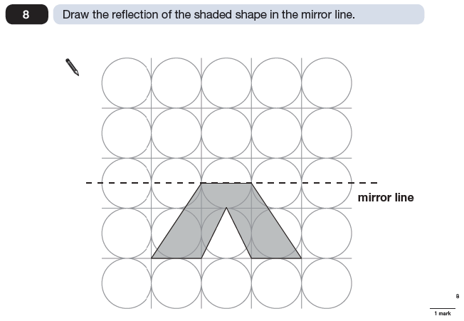 Question 08 Maths KS2 SATs Papers 2009 - Year 6 Exam Paper 1, Geometry, Reflection