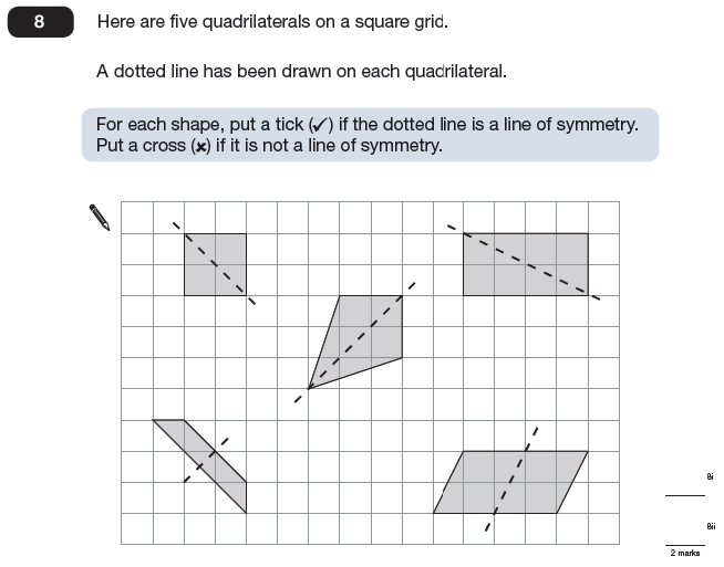 Question 08 Maths KS2 SATs Papers 2009 - Year 6 Exam Paper 2, Geometry, Polygons, Lines of Symmetry