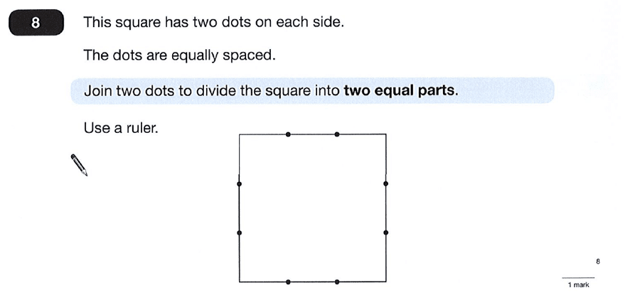 Question 08 Maths KS2 SATs Papers 2012 - Year 6 Exam Paper 1, Geometry, Square, Logical Problems