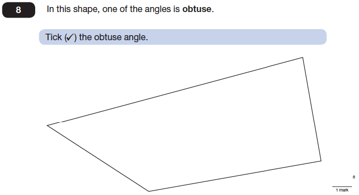 Question 08 Maths KS2 SATs Papers 2014 - Year 6 Exam Paper 1, Geometry, Angles, Polygons