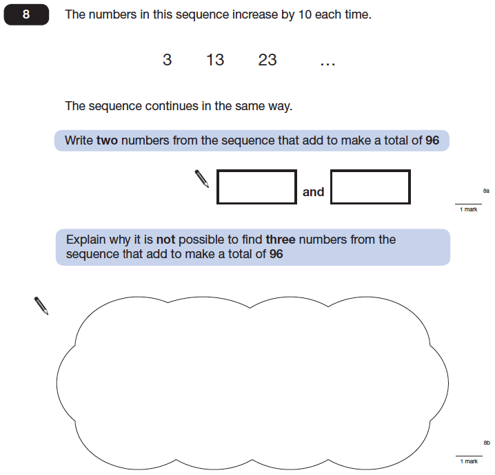 Question 08 Maths KS2 SATs Papers 2014 - Year 6 Exam Paper 2, Numbers, Addition, Algebra, Patterns & Sequences, Logical Problems