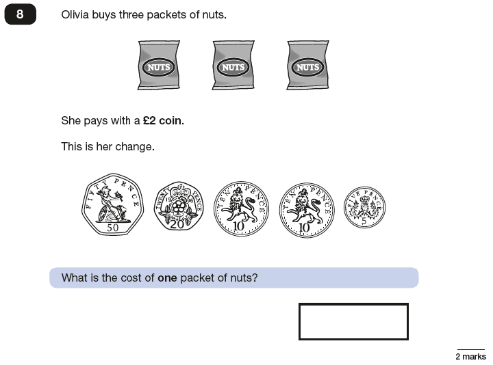 Question 08 Maths KS2 SATs Papers 2016 - Year 6 Exam Paper 3 Reasoning, Numbers, Word Problems, Money, Measurement, Currency Conversions