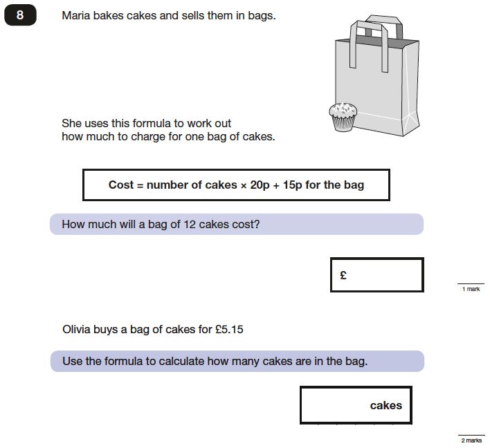 Question 08 Maths KS2 SATs Papers 2016 - Year 6 Past Paper 2 Reasoning, Algebra, Substitution