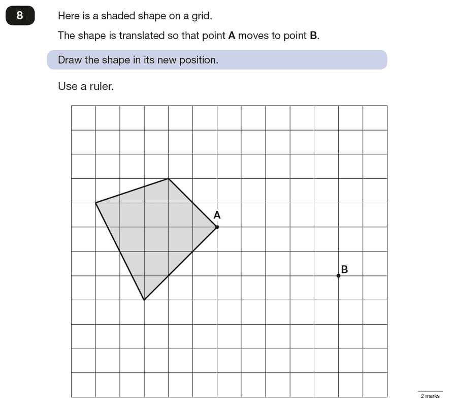 Question 08 Maths KS2 SATs Papers 2016 - Year 6 Past Paper 3 Reasoning, Geometry, Translations