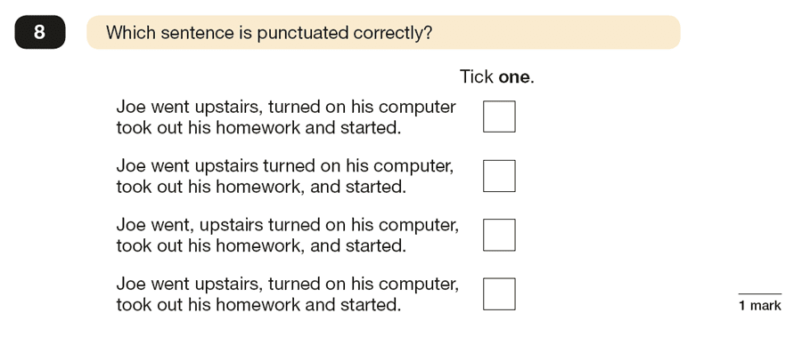 Question 08 SPaG KS2 SATs Papers 2017 - Year 6 English Exam Paper 1, Punctuation