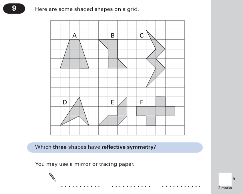 Question 09 Maths KS2 SATs Papers 2000 - Year 6 Exam Paper 1, Geometry, Reflection, Lines of Symmetry