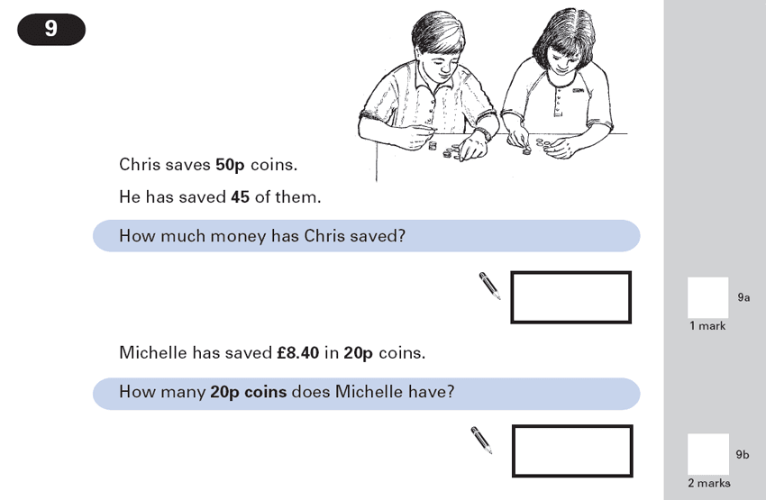 Question 09 Maths KS2 SATs Papers 2000 - Year 6 Exam Paper 2, Numbers, Word Problems, Decimals, Measurement, Currency Conversions, Money