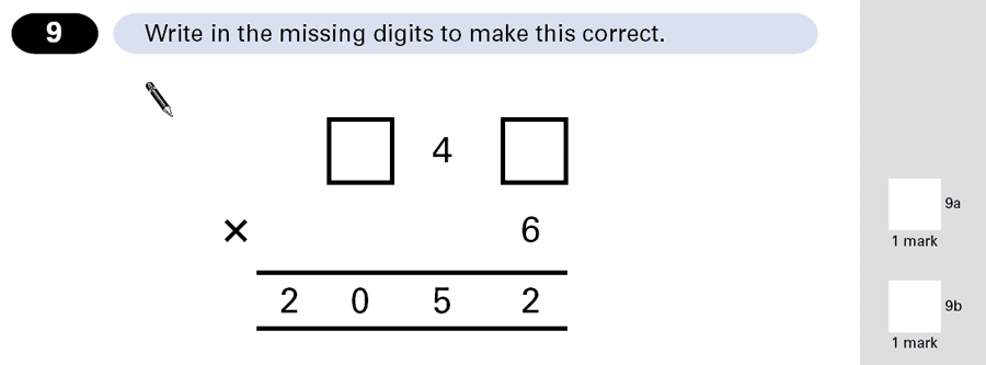 Question 09 Maths KS2 SATs Papers 2001 - Year 6 Exam Paper 1, Numbers, Missing Digits, Multiplication
