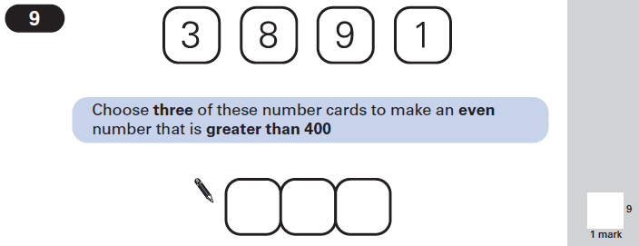 Question 09 Maths KS2 SATs Papers 2002 - Year 6 Exam Paper 1, Numbers, Even and odd Numbers, Logical Problems