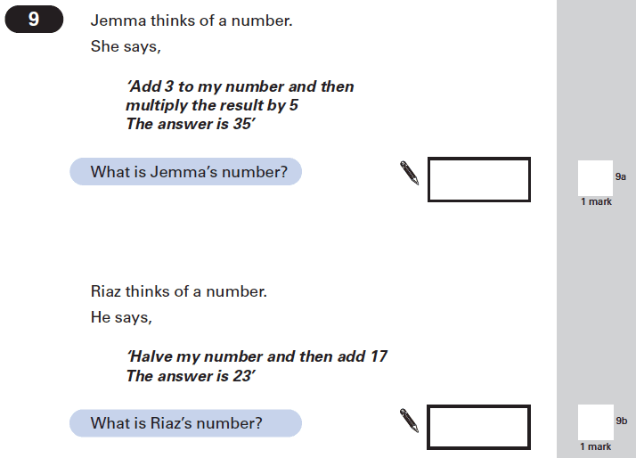 Question 09 Maths KS2 SATs Papers 2002 - Year 6 Exam Paper 2, Numbers, Word Problems, Algebra, Linear Equations