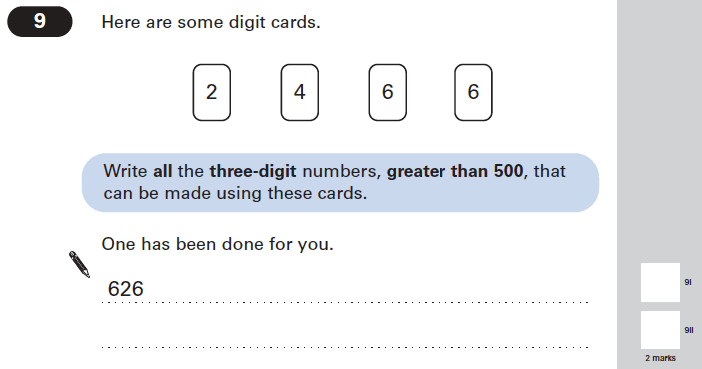 Question 09 Maths KS2 SATs Papers 2005 - Year 6 Practice Paper 1, Numbers, Place Value, Logical Problems