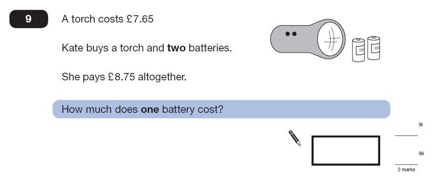 Question 09 Maths KS2 SATs Papers 2007 - Year 6 Past Paper 1, Numbers, Division, Subtraction, Word Problems, Money