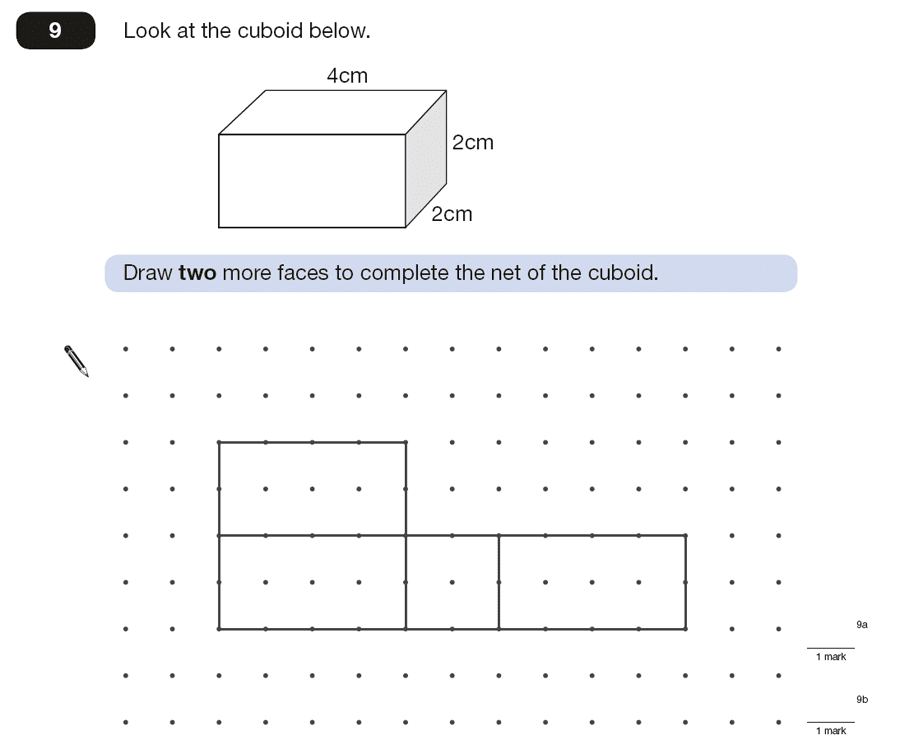 Question 09 Maths KS2 SATs Papers 2015 - Year 6 Exam Paper 2, Geometry, Cubes and Cuboids, Nets of Solids