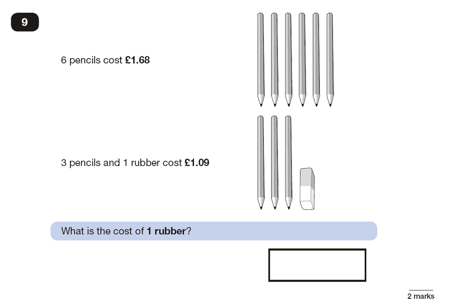 Question 09 Maths KS2 SATs Papers 2016 - Year 6 Past Paper 2 Reasoning, Numbers, Decimals, Algebra, Simultaneous Equations