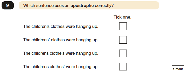 Question 09 SPaG KS2 SATs Papers 2016 - Year 6 English Test Paper 1, Punctuation