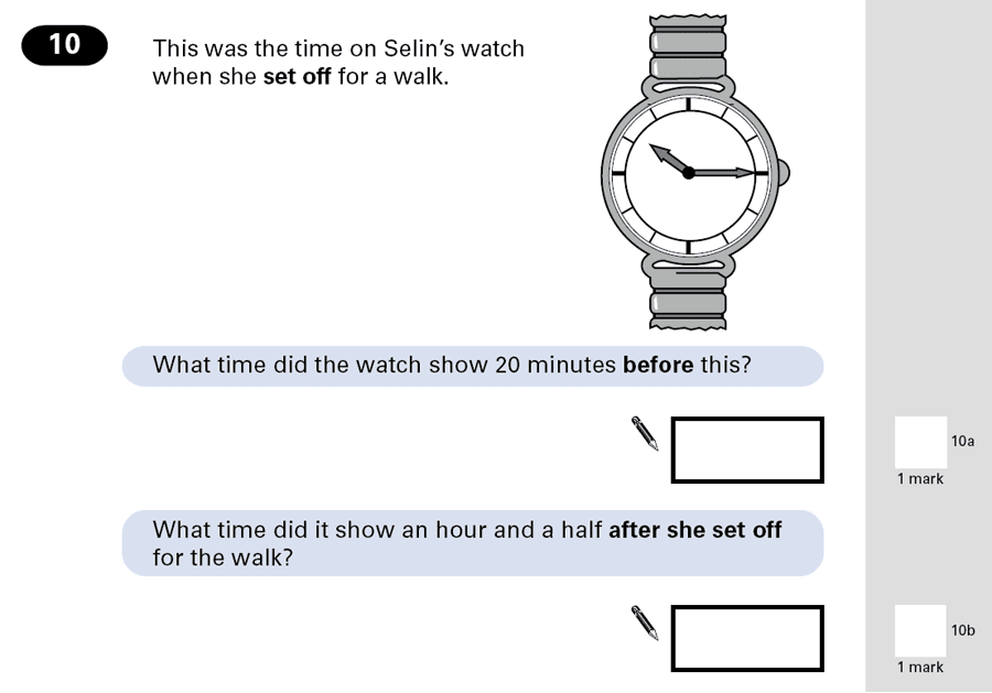 Question 10 Maths KS2 SATs Papers 2001 - Year 6 Past Paper 1, Numbers, Word Problems, Time
