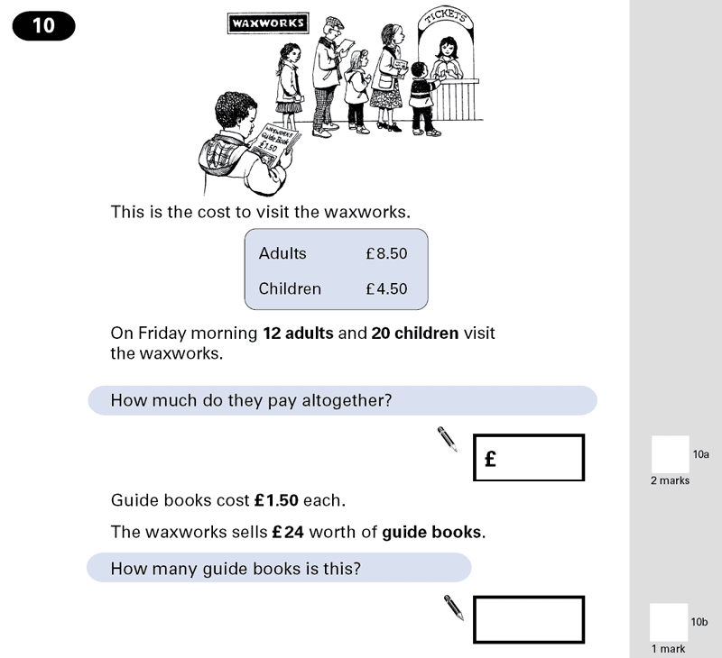 Question 10 Maths KS2 SATs Papers 2001 - Year 6 Past Paper 2, Numbers, Decimals, Division, Multiplication, Word Problems, Money