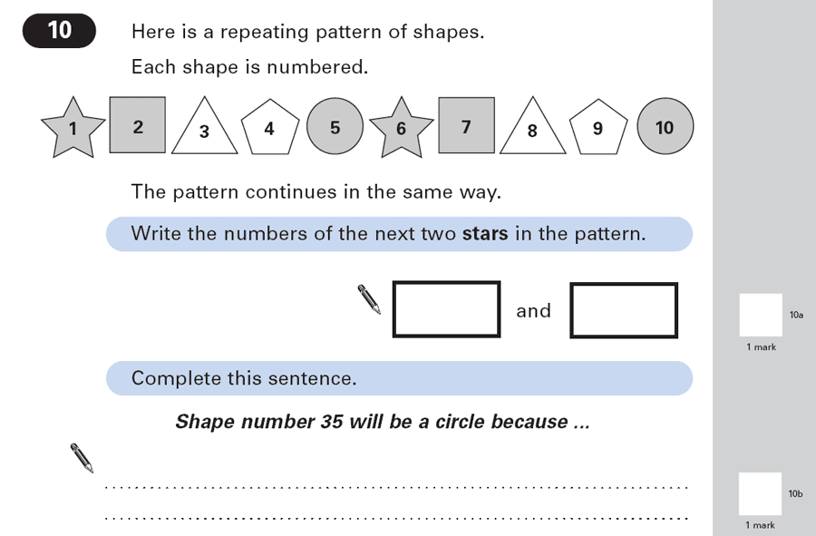 Question 10 Maths KS2 SATs Papers 2003 - Year 6 Past Paper 1, Algebra, Patterns & Sequences, Logical Problems