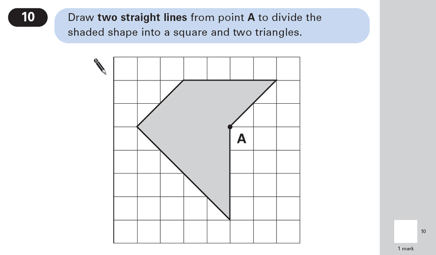 Question 10 Maths KS2 SATs Papers 2003 - Year 6 Past Paper 2, Geometry, 2D shapes, Triangles, Square, Logical Problems