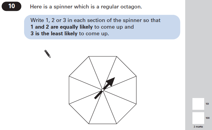 Question 10 Maths KS2 SATs Papers 2005 - Year 6 Past Paper 2, Probability