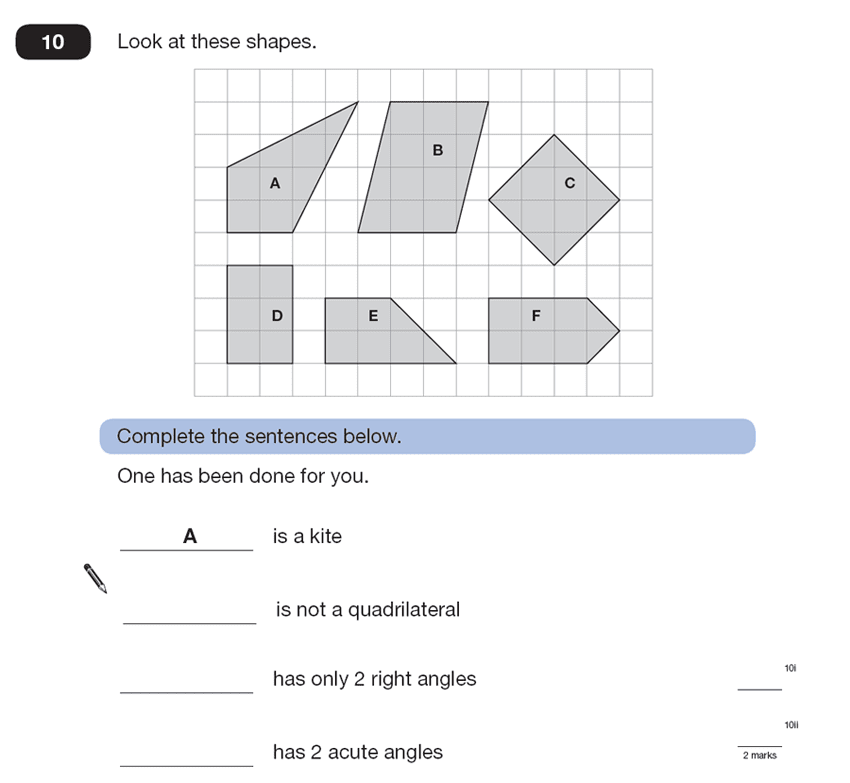 Question 10 Maths KS2 SATs Papers 2007 - Year 6 Sample Paper 2, Geometry, 2D shapes, Polygons, Angles