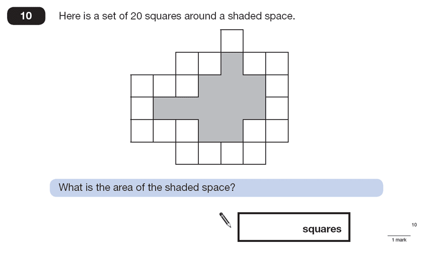 Question 10 Maths KS2 SATs Papers 2013 - Year 6 Sample Paper 2, Numbers, Counting, Geometry, Area & Perimeter, Logical Problems