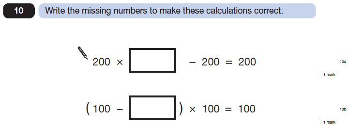 Question 10 Maths KS2 SATs Papers 2014 - Year 6 Practice Paper 1, Algebra, BIDMAS