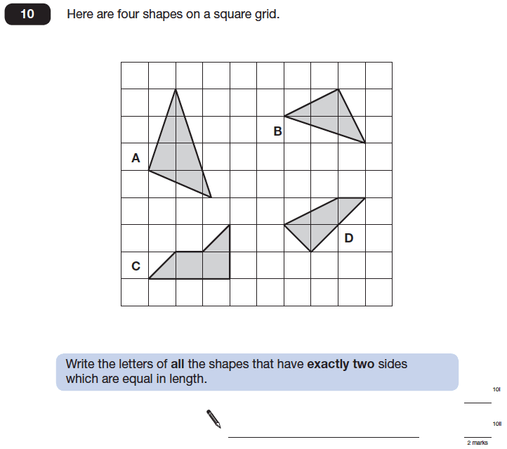 Question 10 Maths KS2 SATs Papers 2014 - Year 6 Practice Paper 2, Geometry, Polygons, 2D shapes