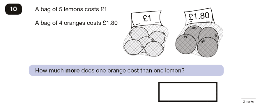 Question 10 Maths KS2 SATs Papers 2016 - Year 6 Practice Paper 3 Reasoning,Numbers, Multiplication, Subtraction, Word Problems, Money