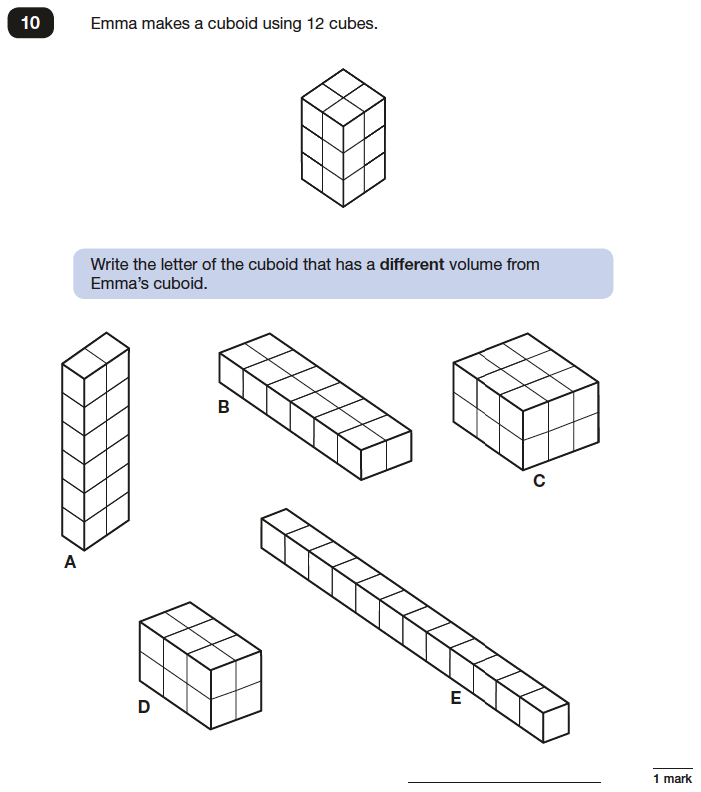 Question 10 Maths KS2 SATs Papers 2016 - Year 6 Sample Paper 3 Reasoning, Geometry, Cubes and Cuboids, Volume, 3D shapes