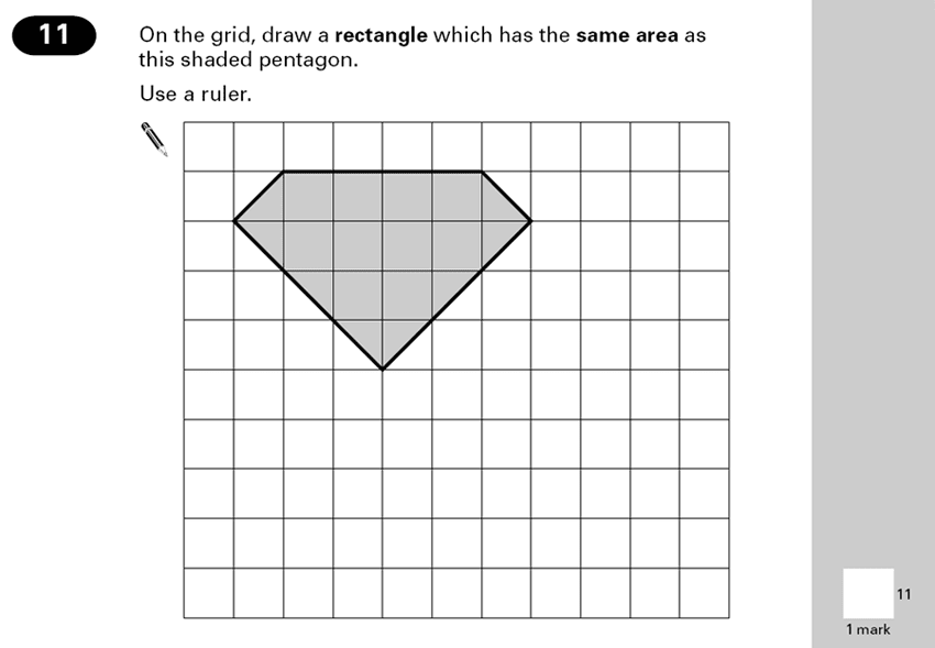 Question 11 Maths KS2 SATs Papers 2000 - Year 6 Sample Paper 2, Geometry, Area & Perimeter, Compound Shapes, Rectangle